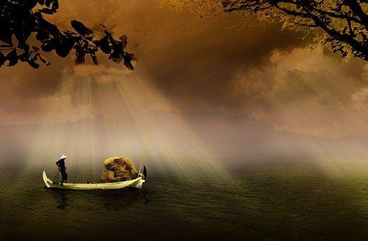 Fishermen, Boat, Asia, Indonesian, Traditional, River