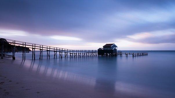 Jetty, Beach, Sunset, Sea, Ocean, Sky, Vacation, Water