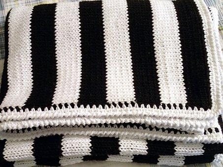 Modern Blanket, Knit Blanket, Handmade Throw, Black