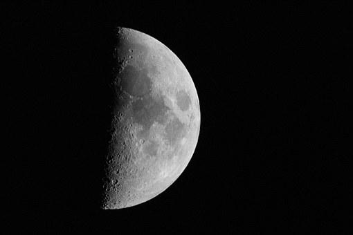 Moon, Sickle, Incoming, Rogal, Black And White, Noise