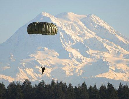 Parachute, Paratrooper, Parachutist, Land, Fort Lewis