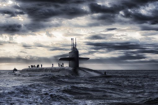Submarine, Boat, Sea, Ocean, Water, Sky, Clouds