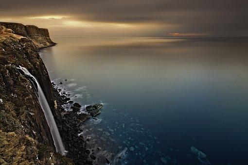 Waterfall, Scotland, Isle Of Skye, Lake, Sky, Sunset