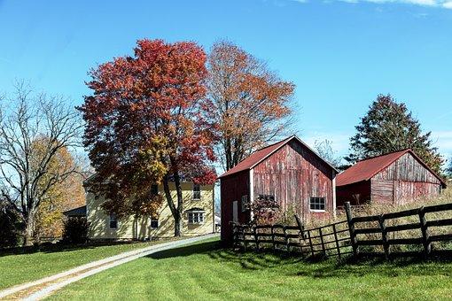 Farm, Nature, Farmhouse, Autumn, Fence, Barn, Stall