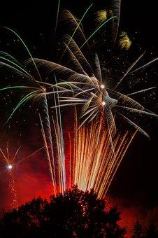 Fireworks, Sky, Colorful, Noise, Beautiful, Stuttgart