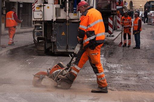 Road Construction, Construction Workers, Teersäge