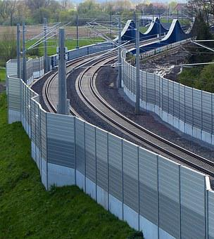 Train, Gleise, Noise Barrier, Upper Lines