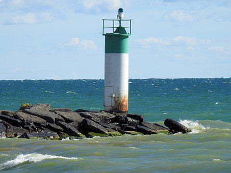 Lighthouse, Siren Point, Lake Ontario, Ocean, Waves