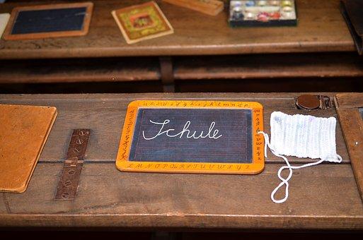 School, Old, Wood, Slate, Teaching, Blackboard