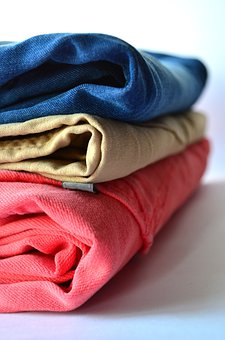Clothes, Pants, Clothing, Stack, Pink, Blue, Jeans
