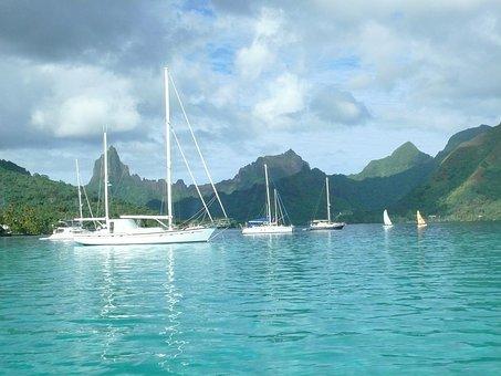 Moorea, Tahiti, Sailing, Boat, Water, Sea, Boating