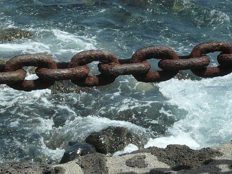 Sea, Chains, Oxide, Waves, Tide, Link, Shore