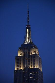 Nyc, Empire, State, Building, Night, City, America