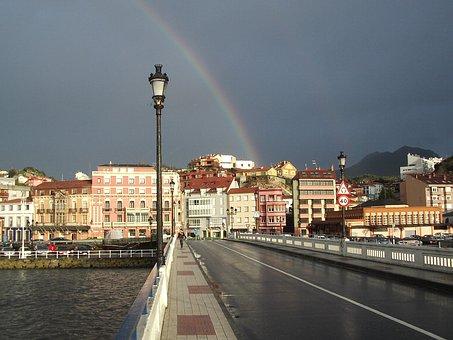 Rainbow, Street Lamp, Sky, City, Sunset, Landscape