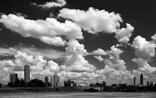 Atlanta, Cityscape, B W, Skyline, Georgia, City, Urban