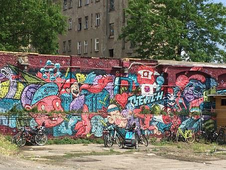 Wall, Berlin, Colors, Graffitti, Gable, Facade