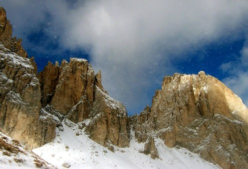 Alpine, Mountains, Snow, Blue White, Dolomites, Winter