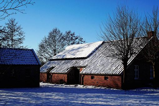 Fehnhaus, East Frisia, Winter, Snow