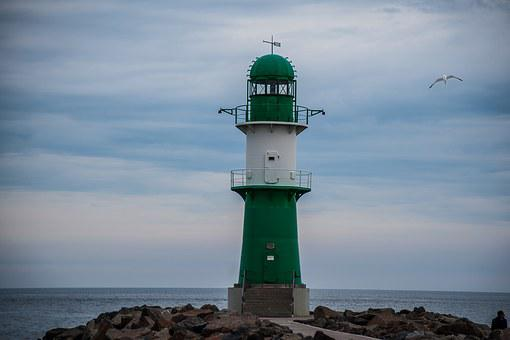 Warn Mouths Harbor, Lighthouse, Green, Baltic, Rostock
