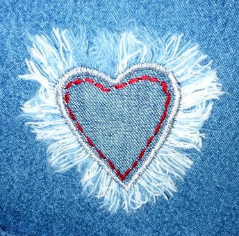 Jeans, Fabric, Heart, Love, Design, Textile, Material