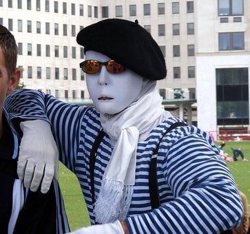 Mime, Performer, Artist, Beret, Face, Guy, Male, Man