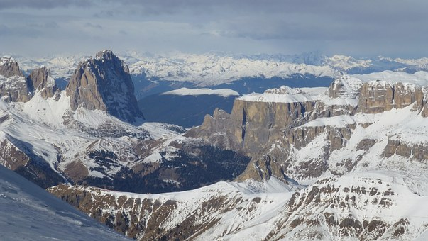 Dolomites, Italy, Sassolungo, Sella Massif, Mountains