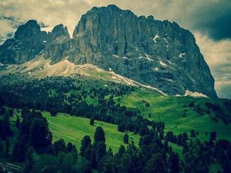 Dolomites, Sassolungo, Mountains, South Tyrol, Italy
