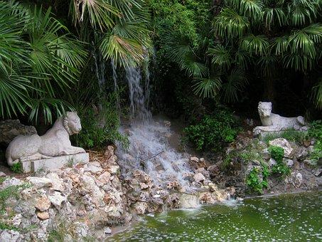 Lions Sculpture, Source, River, Forest, Trees, Palm
