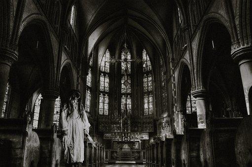 Church, Horror, Photoshop, Scary, Gloomy, Girl, Woman