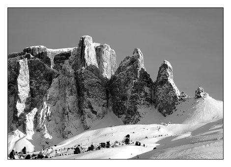 Sella Group, Sellaronda, Alpine, Mountains, Snow