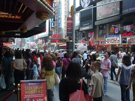 New, York, Manhattan, Street, Crowd, Times, Square