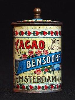 Bensdorp, Cacao, Box, Tin, Package, Old, Retro, Vintage