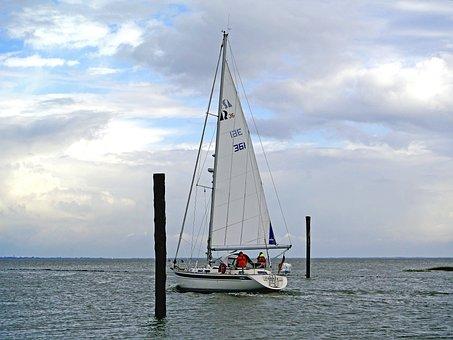 Sailing Vessel, Wadden Sea, Exit, Harlesiel, Wangerooge