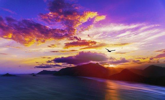 Island Sunset, Tropical Coast, Ocean, Sea, Coast, Beach