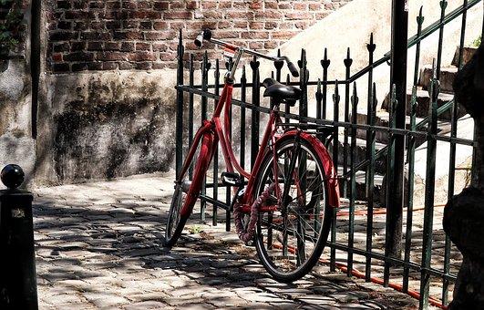 Bike, Red, Wheel, Fence, Alley, Beside Road