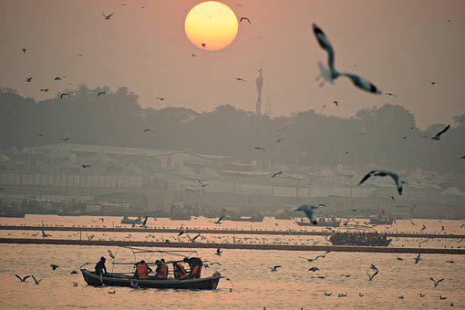 Sunset, River, Boats, Landscape, Nature, Water, Dusk