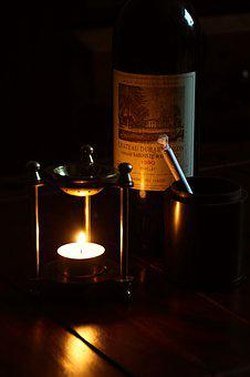 Candle, Red Wine, Bottle, Bordeaux, Joint, Wood
