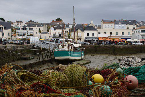 Pornic, Brittany, France, Harbour, Boat, Fishing Net
