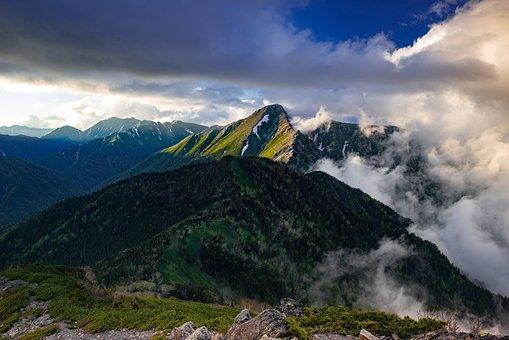 Landscape, Mountain, Evening, Cloud, 常念岳