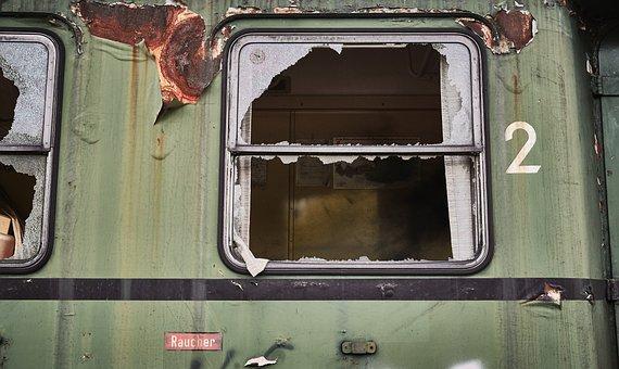 Smoking, Train, Dare, Wagon, Railway, Demolished