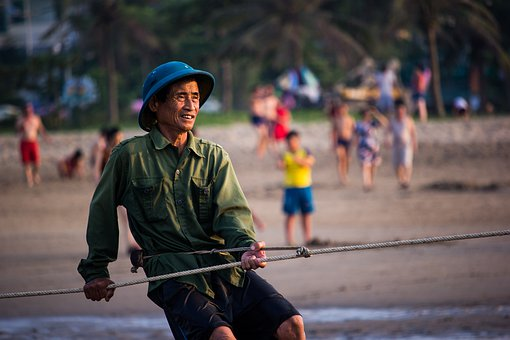 Sea, Dawn, Fisherman, Viet Nam