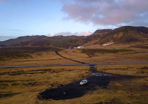 Iceland, Landscape, Wild, Car, Drone, Lake, Scenic