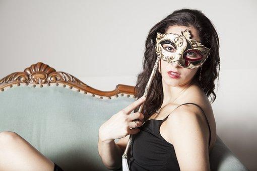 Fashion Model, Model, Long Hair, Brunette, Mask