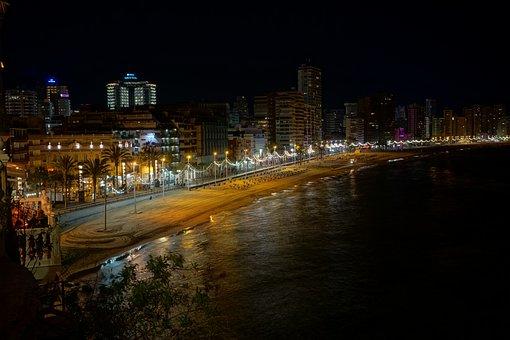 Beach, Night Photograph, Sea, Water, Evening