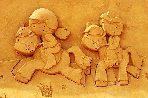 Sand Sculpture, Sand, Art, Oostende, Children