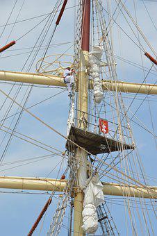 Rope, Square, Sails, Mast, Rigging, Poles