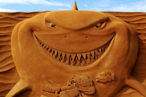 Sand Sculpture, Sand, Art, Oostende, Shark, Artwork