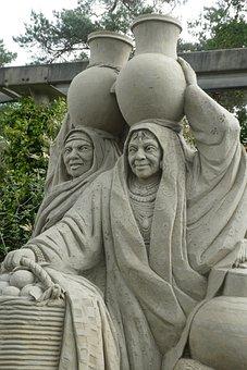 Sand Sculpture, Oriental Women, Art, Sand, Sculpture