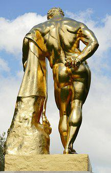 Image, Statue, Sculpture, Art, Gold, Gilt, Hercules