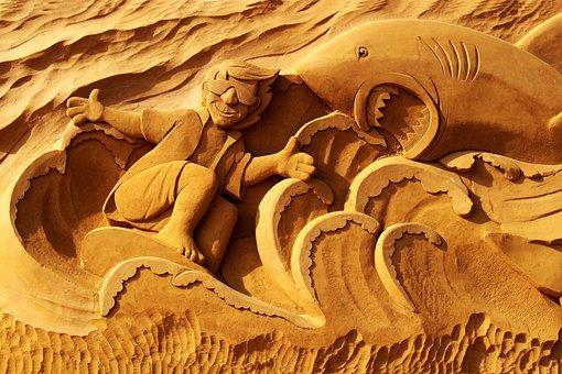 Sand Sculpture, Sand, Art, Oostende, Shark, Surfer